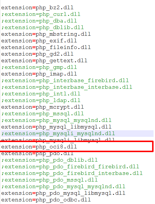 setting extension-oci8 di php