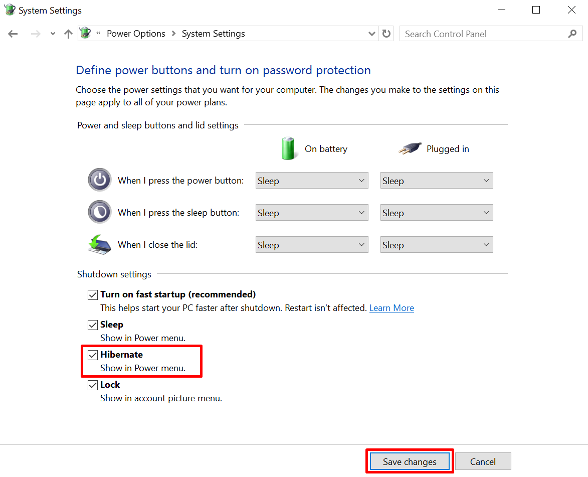 Hibernate di Start Menu Di Windows 10