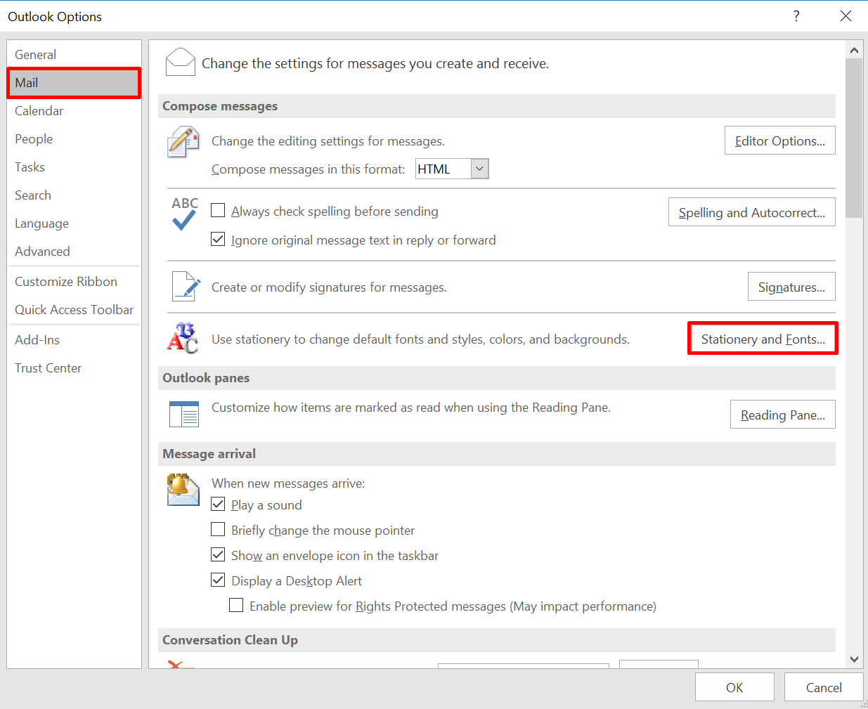 how to change the background in outlook 2016