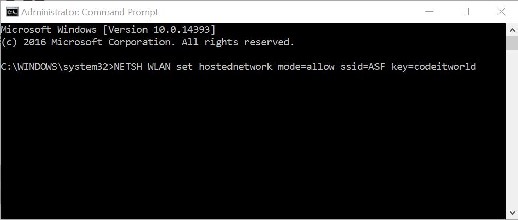 NETSH WLAN set hosted network