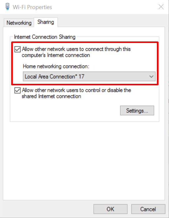 allow other network hosted