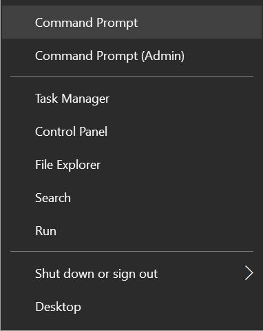 command prompt klik start menu