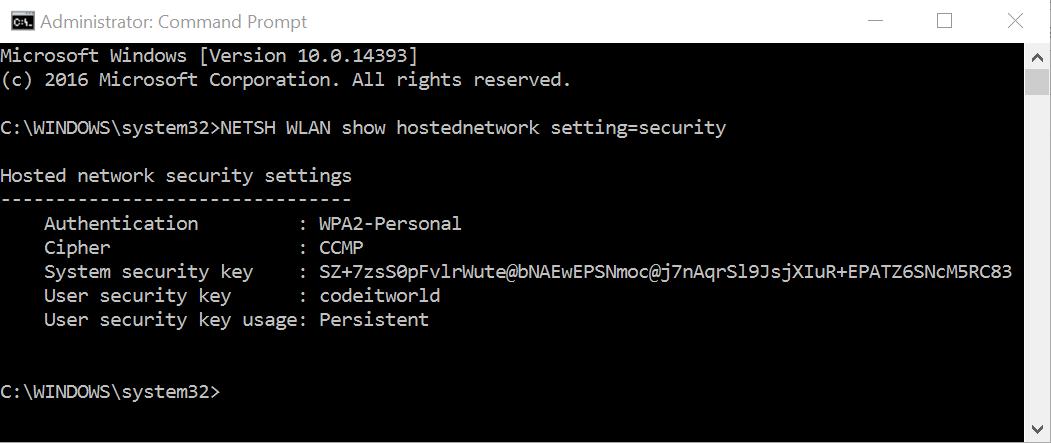 password jaringan hosted network