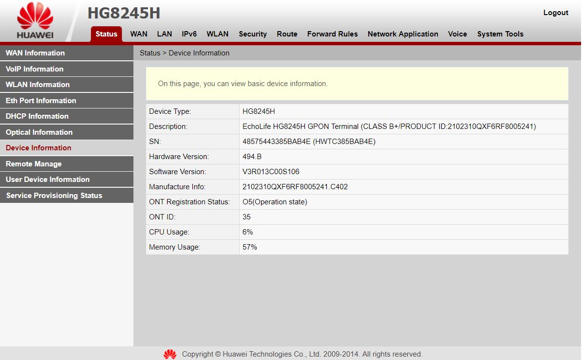 Halaman awal Modem Huawei HG8245H
