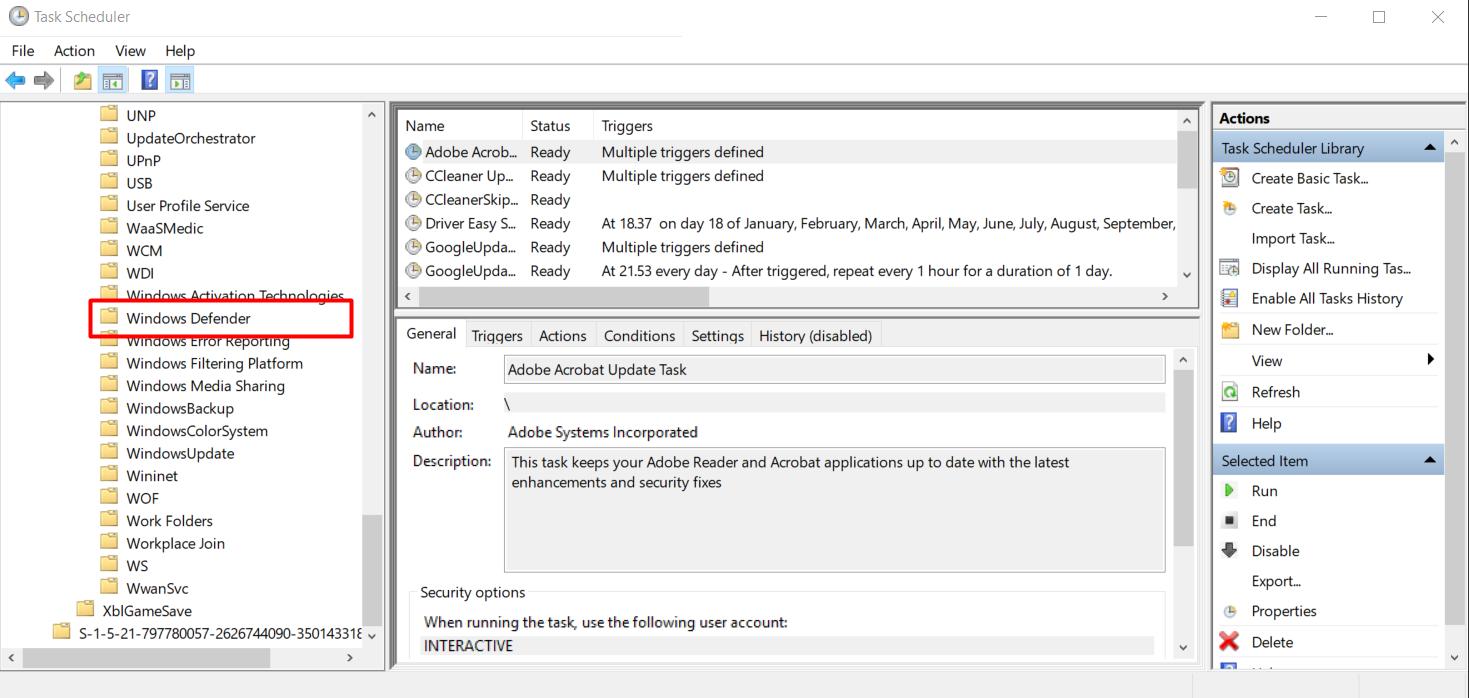 Task Scheduler Windows Defender