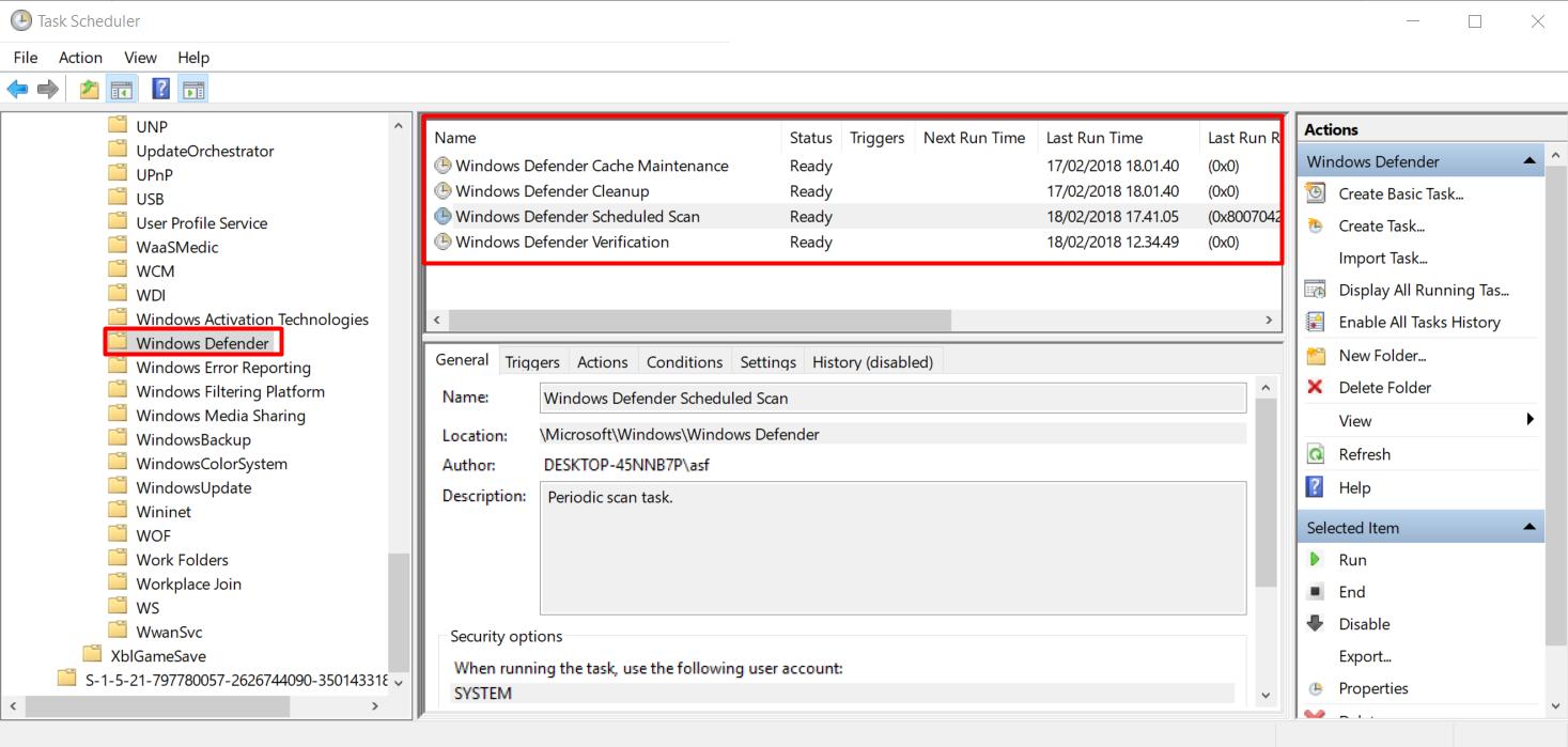 Task Scheduler folder windows defender