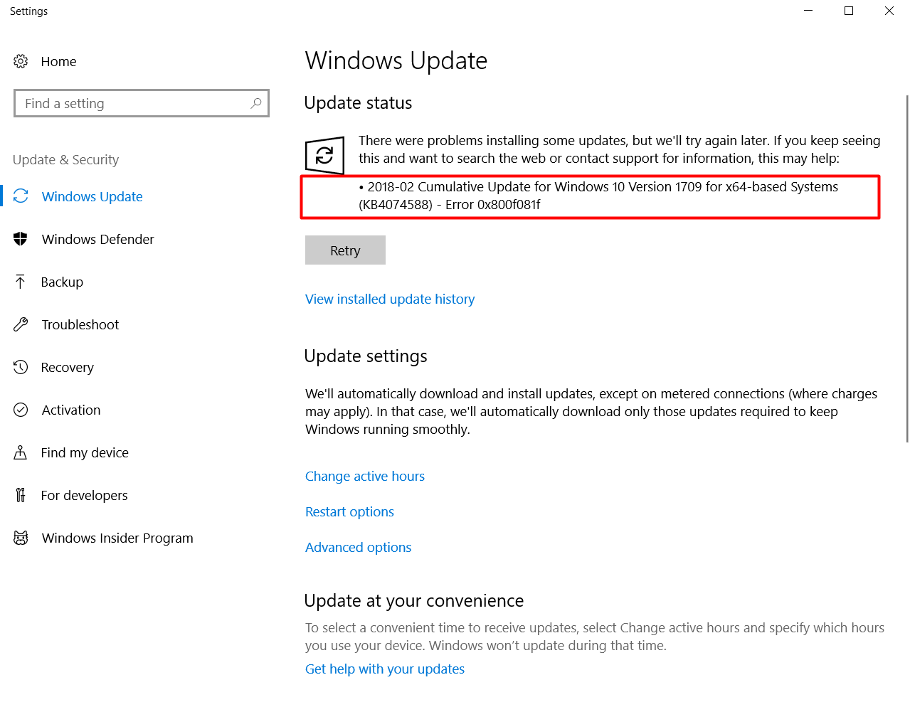 Error 0x800f081f Update For Windows 10 Version 1709 for x64-based Systems (KB4074588)