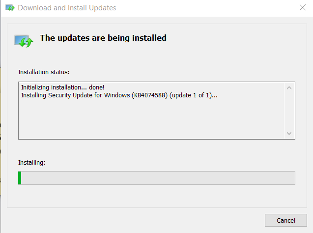 instaling Update For Windows 10 Version 1709 for x64-based Systems (KB4074588)