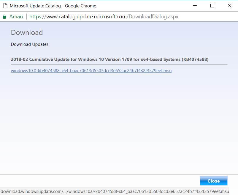 popup download Update For Windows 10 Version 1709 for x64-based Systems (KB4074588)