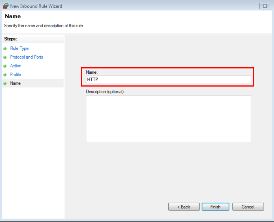 open port 80 beri nama role HTTP