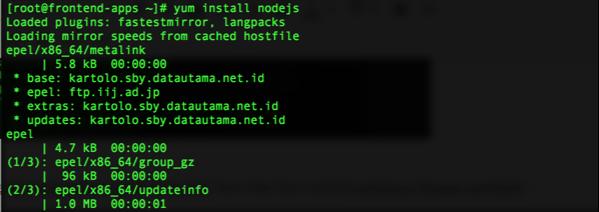 yum install nodejs